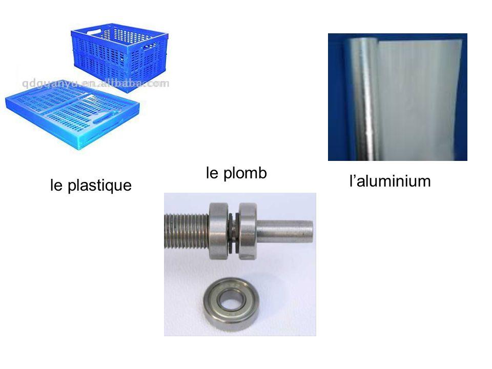 le plomb l'aluminium le plastique
