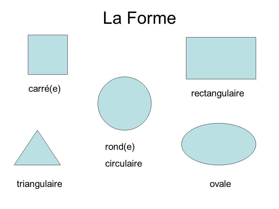 La Forme carré(e) rectangulaire rond(e) circulaire triangulaire ovale