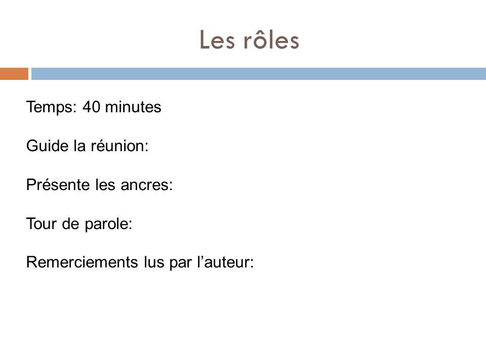 Les rôles Temps: 40 minutes Guide la réunion: Présente les ancres: