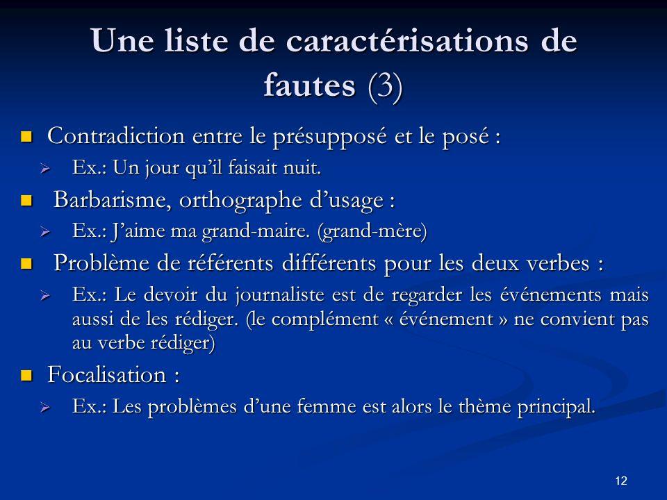 Une liste de caractérisations de fautes (3)