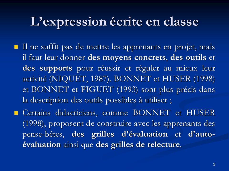 L'expression écrite en classe