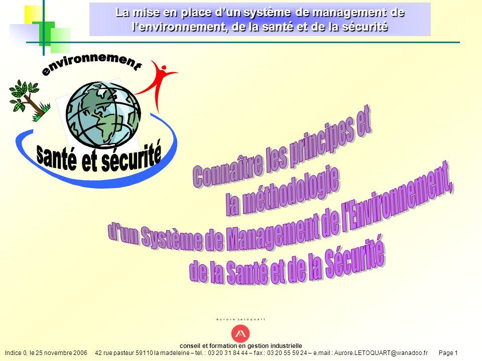 environnement santé et sécurité Connaître les principes et