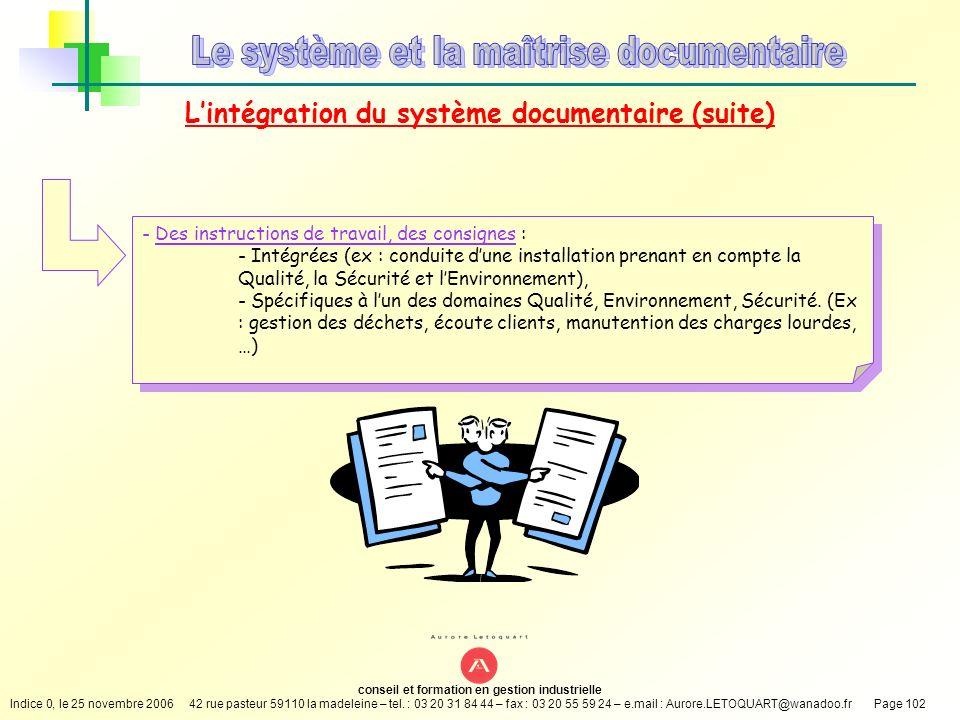 L'intégration du système documentaire (suite)