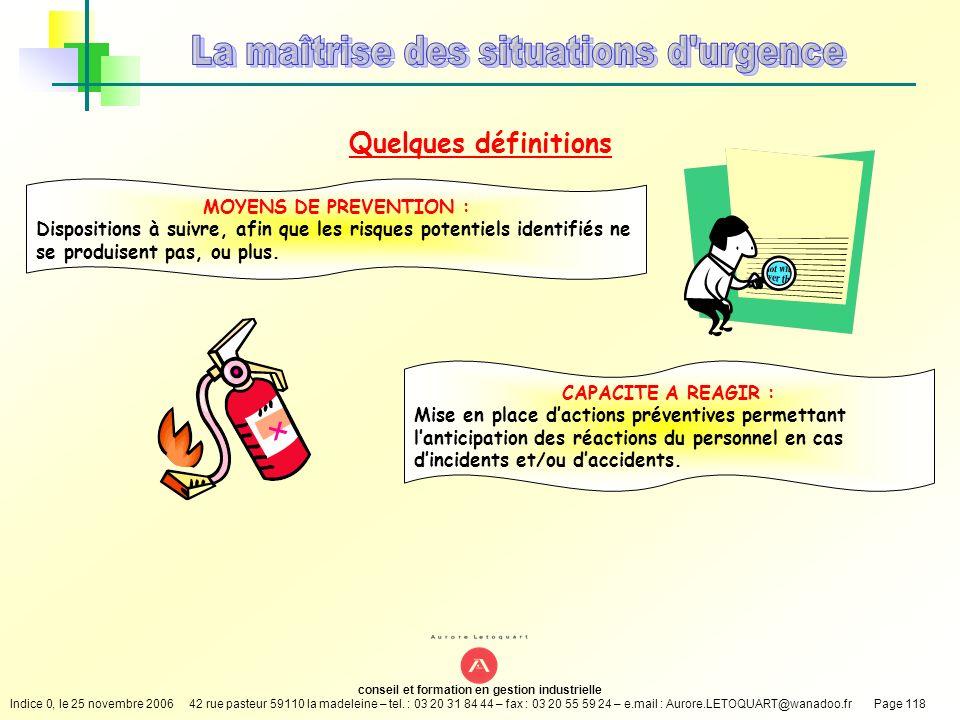 La maîtrise des situations d urgence