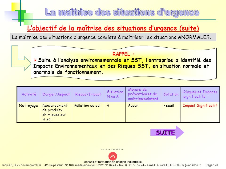 L'objectif de la maîtrise des situations d'urgence (suite)