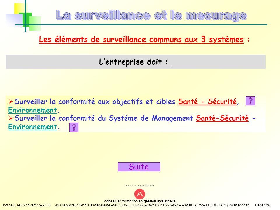 Les éléments de surveillance communs aux 3 systèmes :