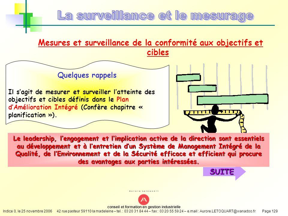 Mesures et surveillance de la conformité aux objectifs et cibles
