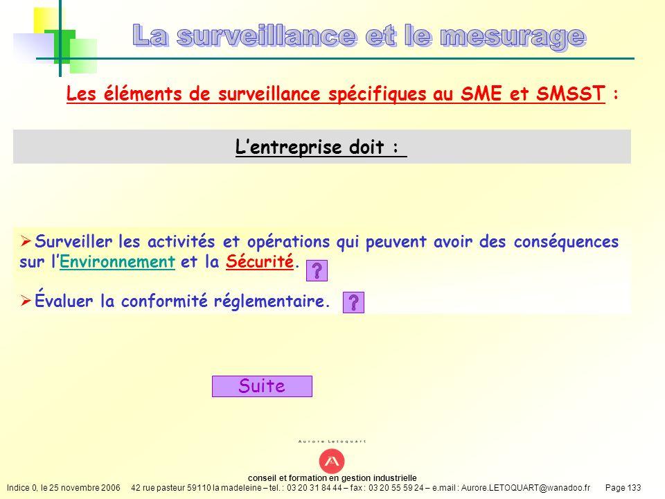 Les éléments de surveillance spécifiques au SME et SMSST :