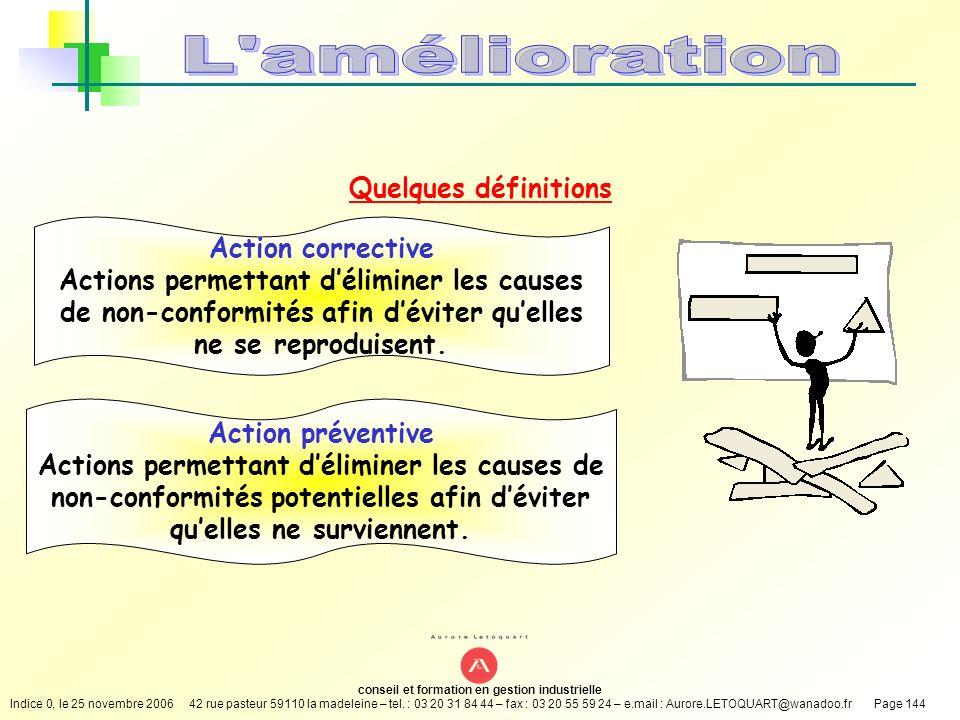 L amélioration Quelques définitions Action corrective