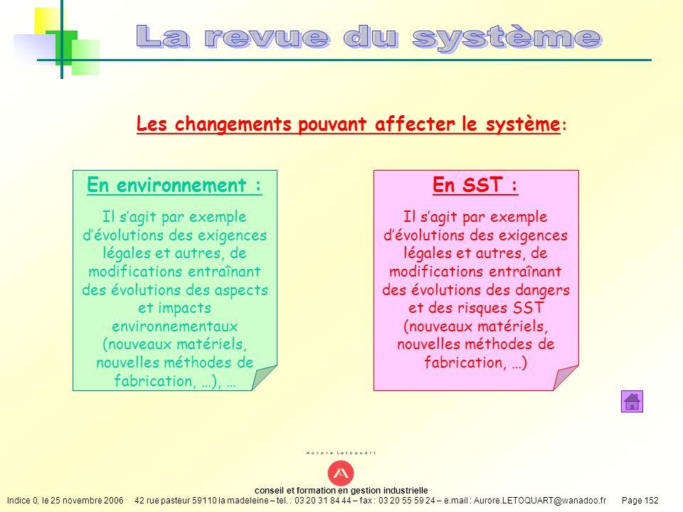 Les changements pouvant affecter le système: