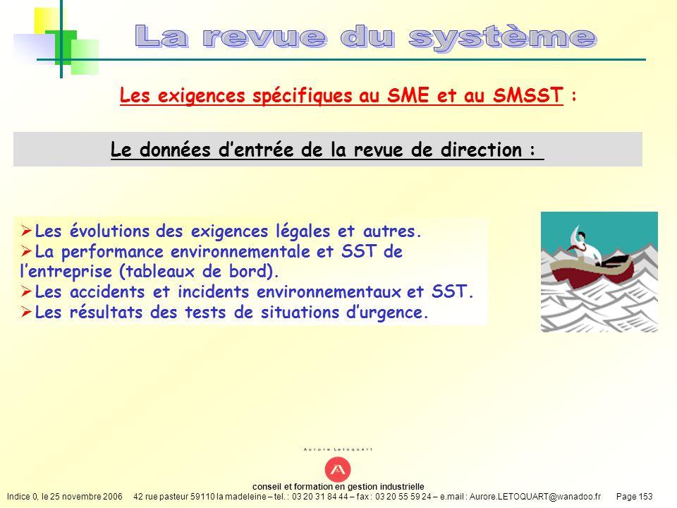 La revue du système Les exigences spécifiques au SME et au SMSST :