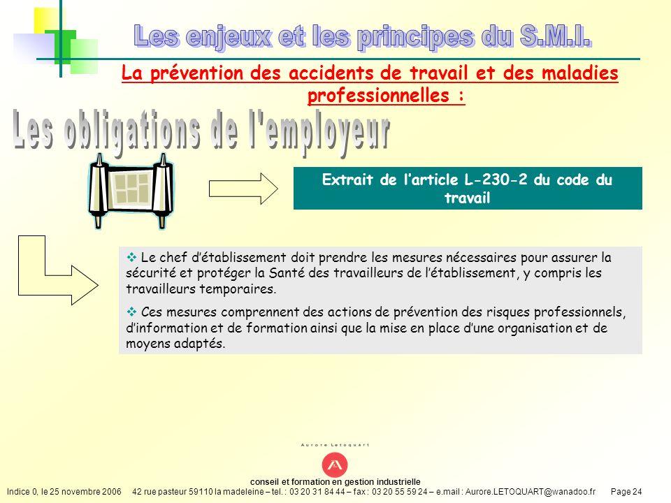 Extrait de l'article L-230-2 du code du travail