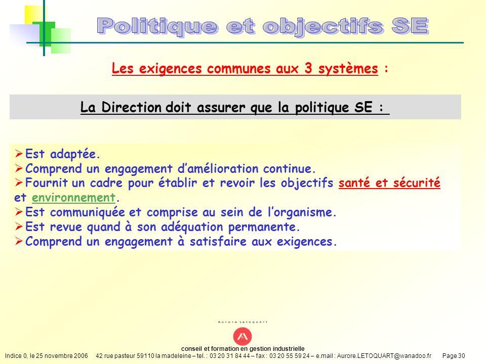 Politique et objectifs SE