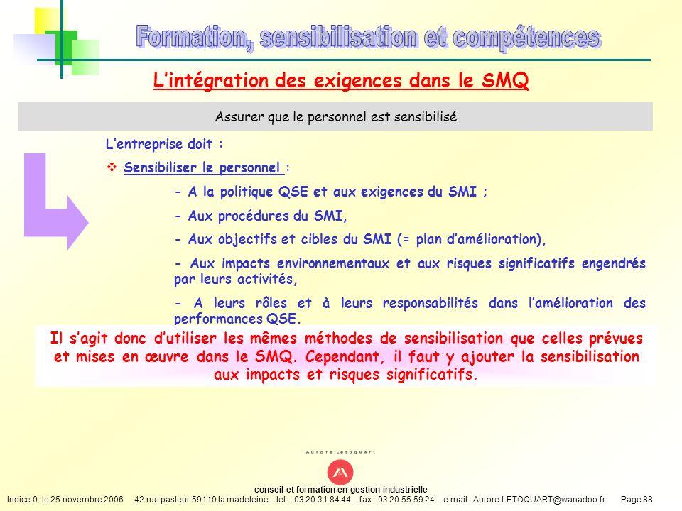 L'intégration des exigences dans le SMQ