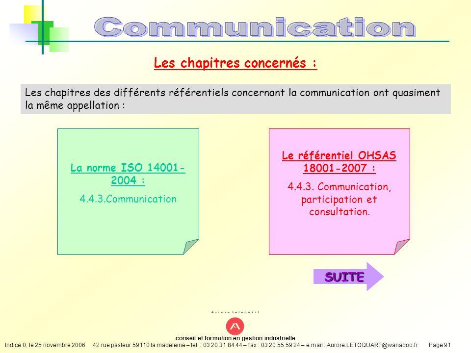 Les chapitres concernés : Le référentiel OHSAS 18001-2007 :