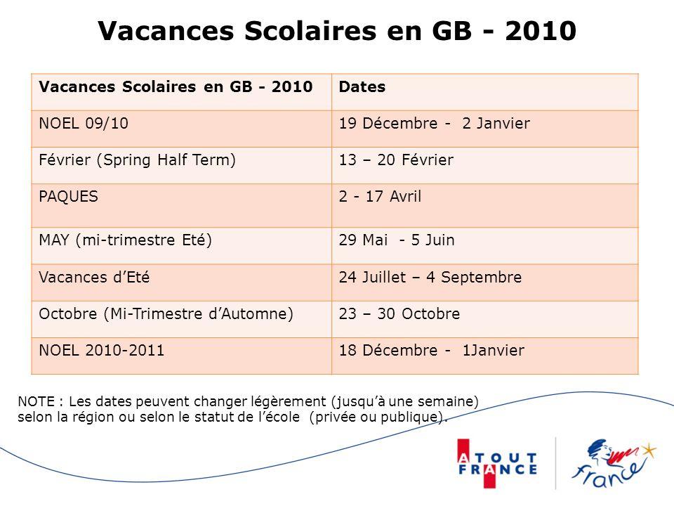Vacances Scolaires en GB - 2010
