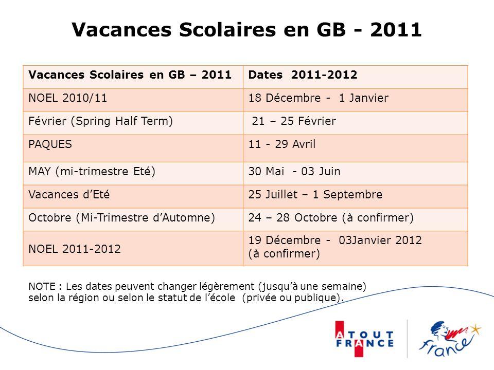 Vacances Scolaires en GB - 2011