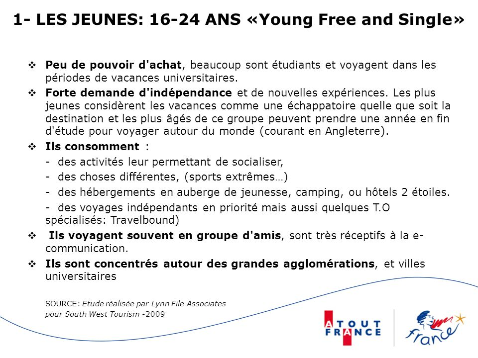 1- LES JEUNES: 16-24 ANS «Young Free and Single»