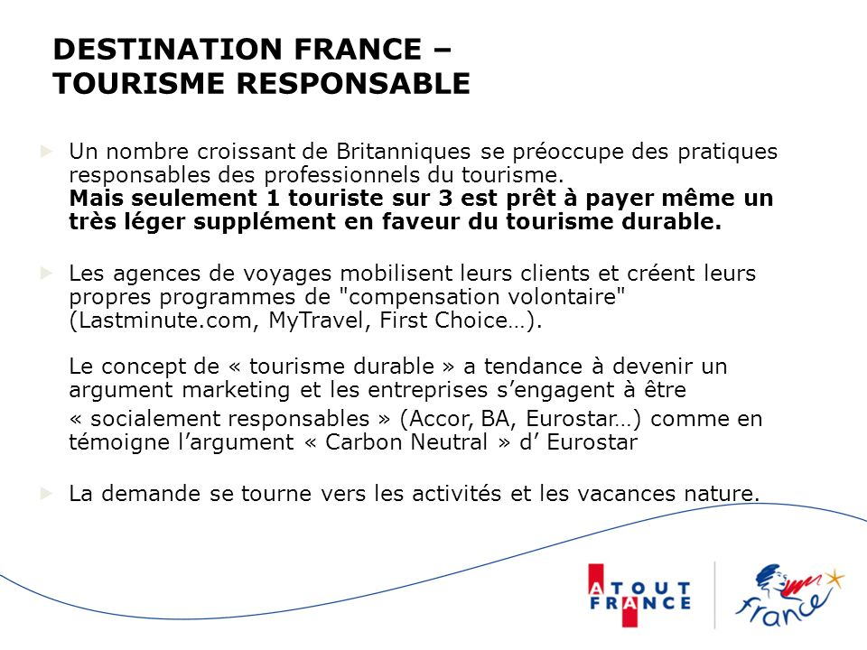 DESTINATION FRANCE – TOURISME RESPONSABLE