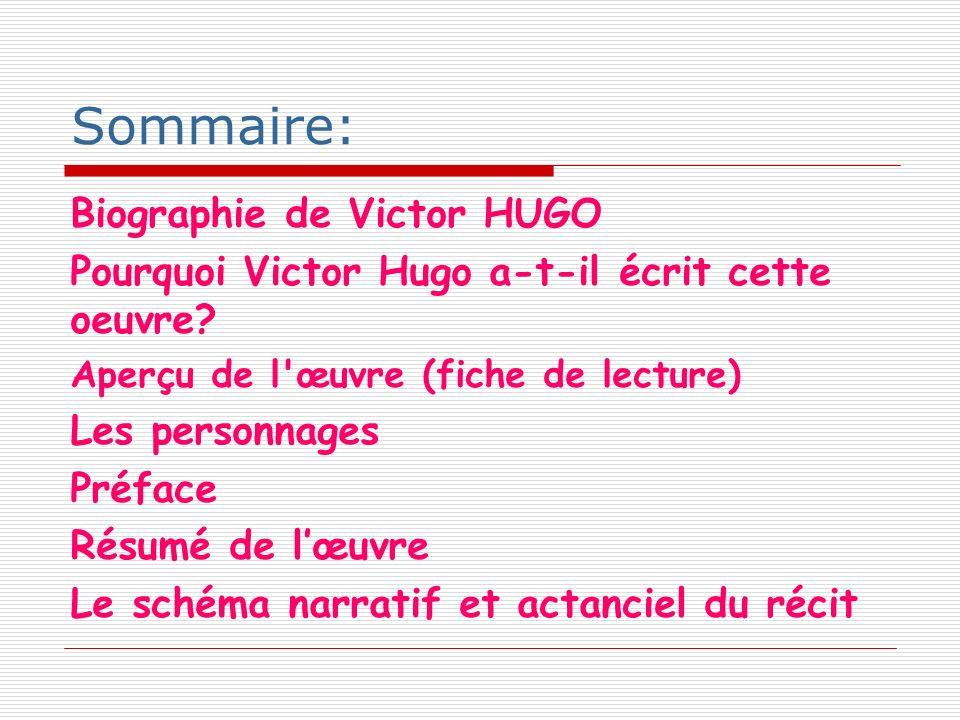 Sommaire: Biographie de Victor HUGO