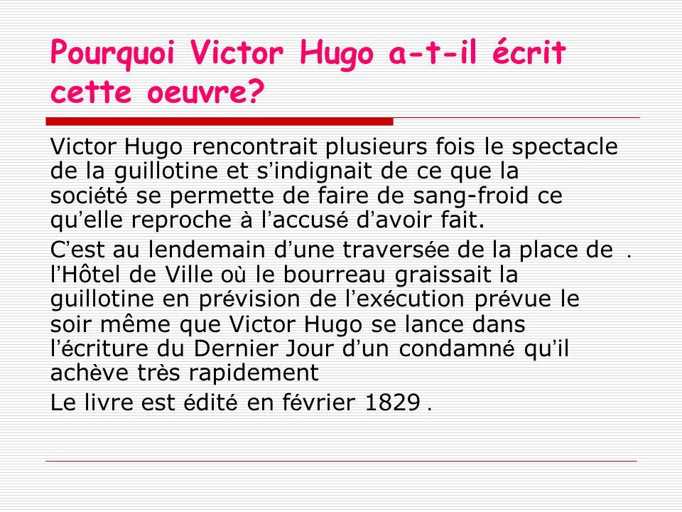 Pourquoi Victor Hugo a-t-il écrit cette oeuvre