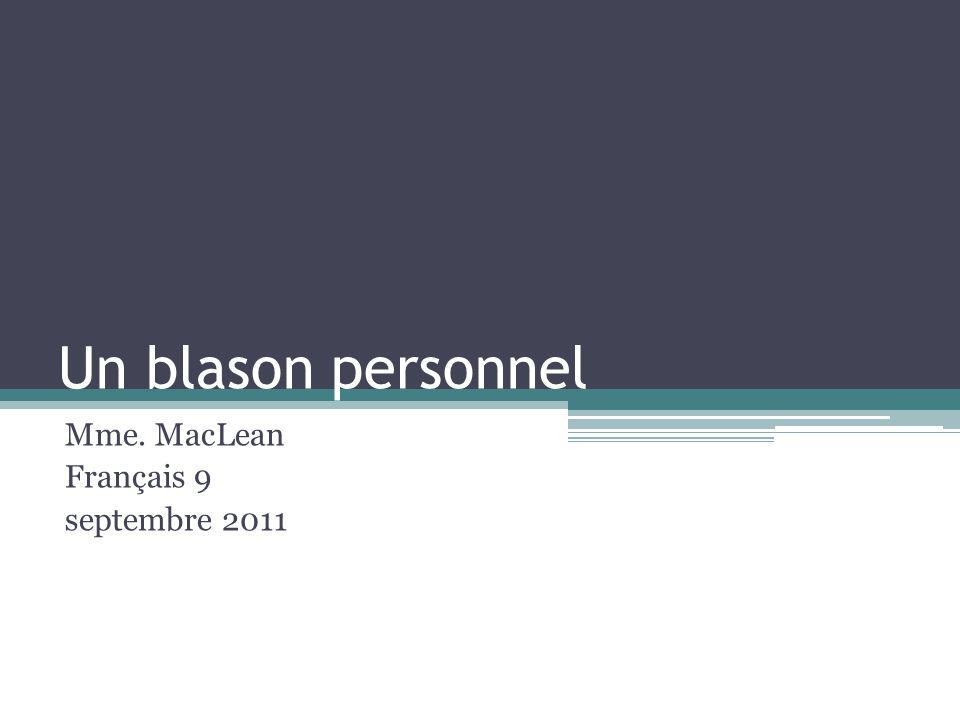 Mme. MacLean Français 9 septembre 2011