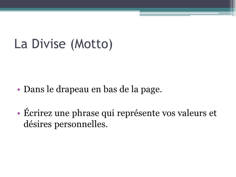 La Divise (Motto) Dans le drapeau en bas de la page.