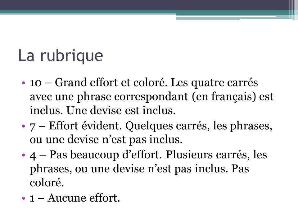 La rubrique 10 – Grand effort et coloré. Les quatre carrés avec une phrase correspondant (en français) est inclus. Une devise est inclus.