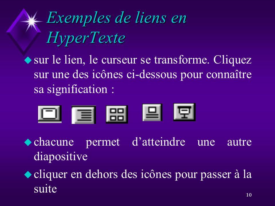 Exemples de liens en HyperTexte
