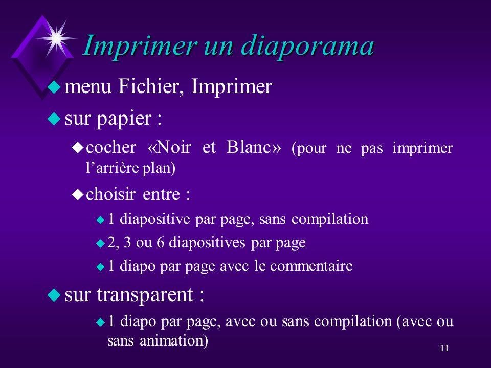 Imprimer un diaporama menu Fichier, Imprimer sur papier :