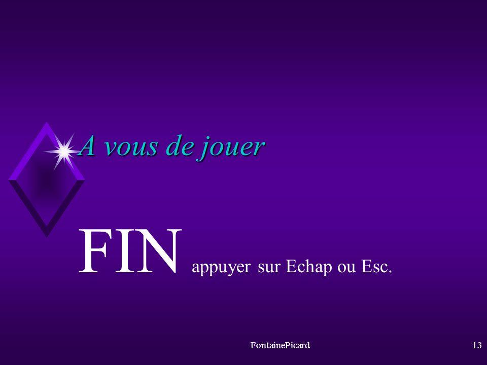 FIN appuyer sur Echap ou Esc.