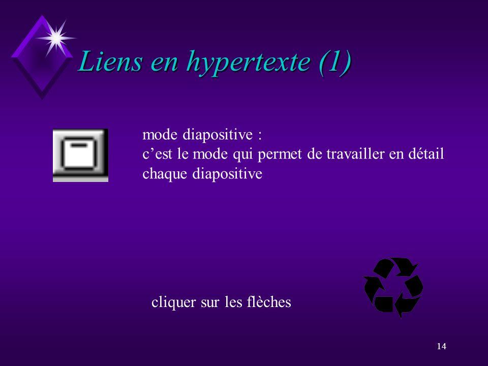 Liens en hypertexte (1) mode diapositive :