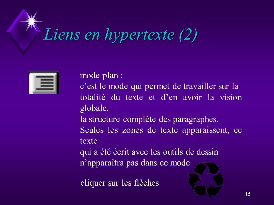Liens en hypertexte (2) mode plan :