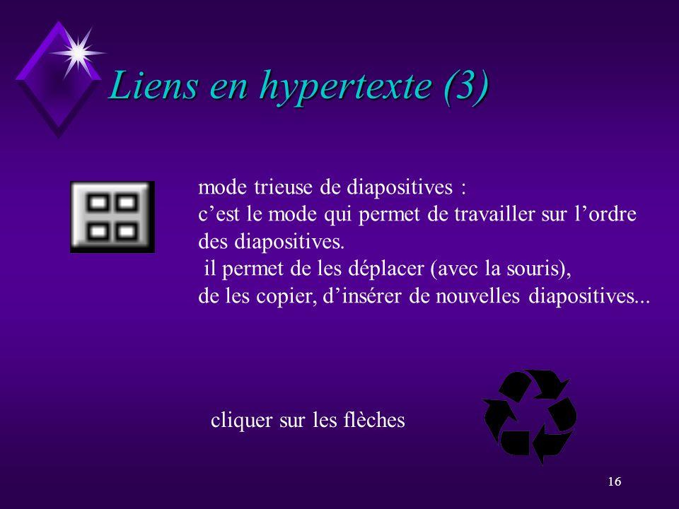 Liens en hypertexte (3) mode trieuse de diapositives :
