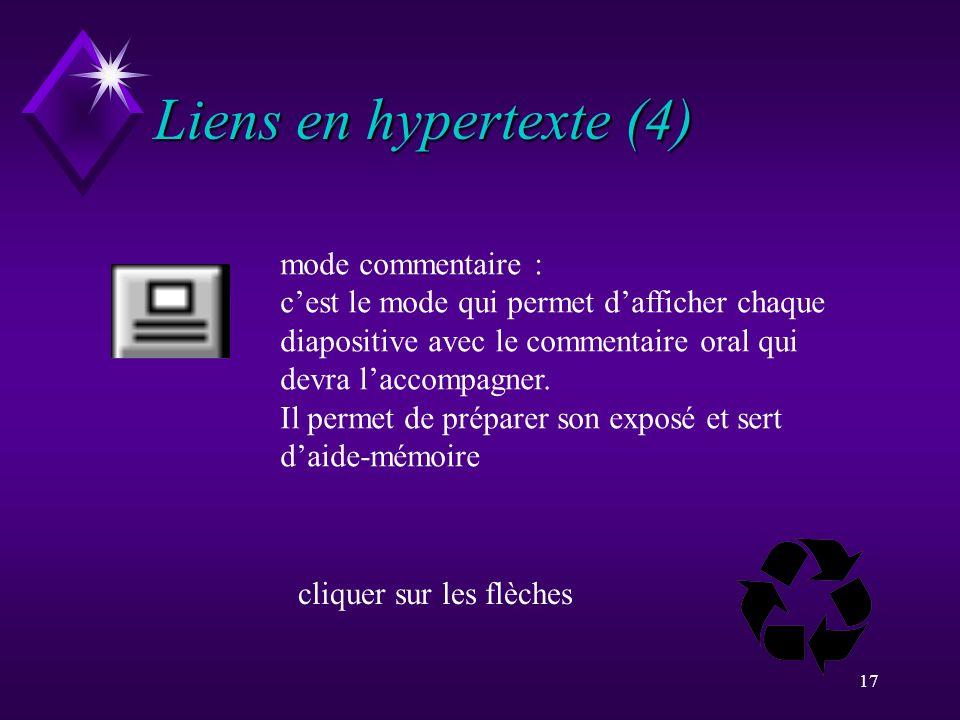 Liens en hypertexte (4) mode commentaire :