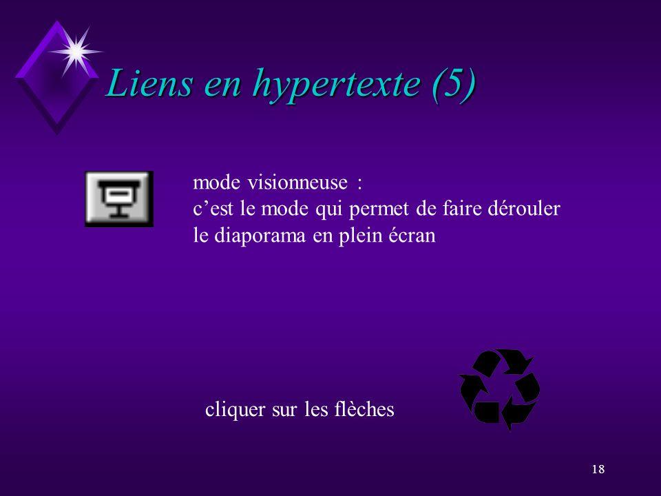 Liens en hypertexte (5) mode visionneuse :