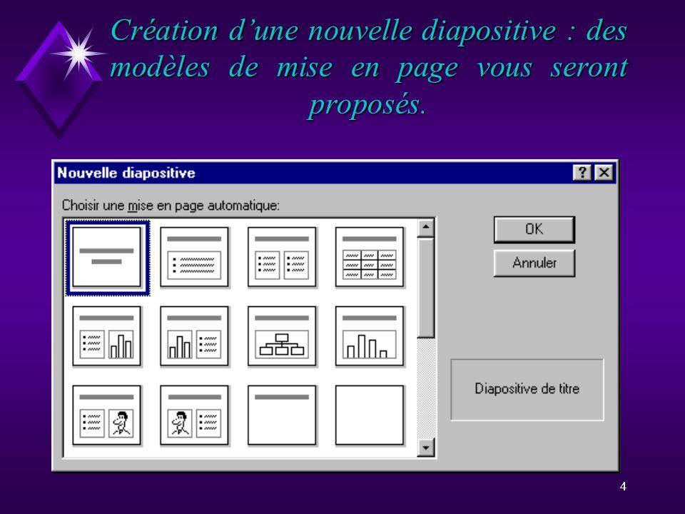 Création d'une nouvelle diapositive : des modèles de mise en page vous seront proposés.