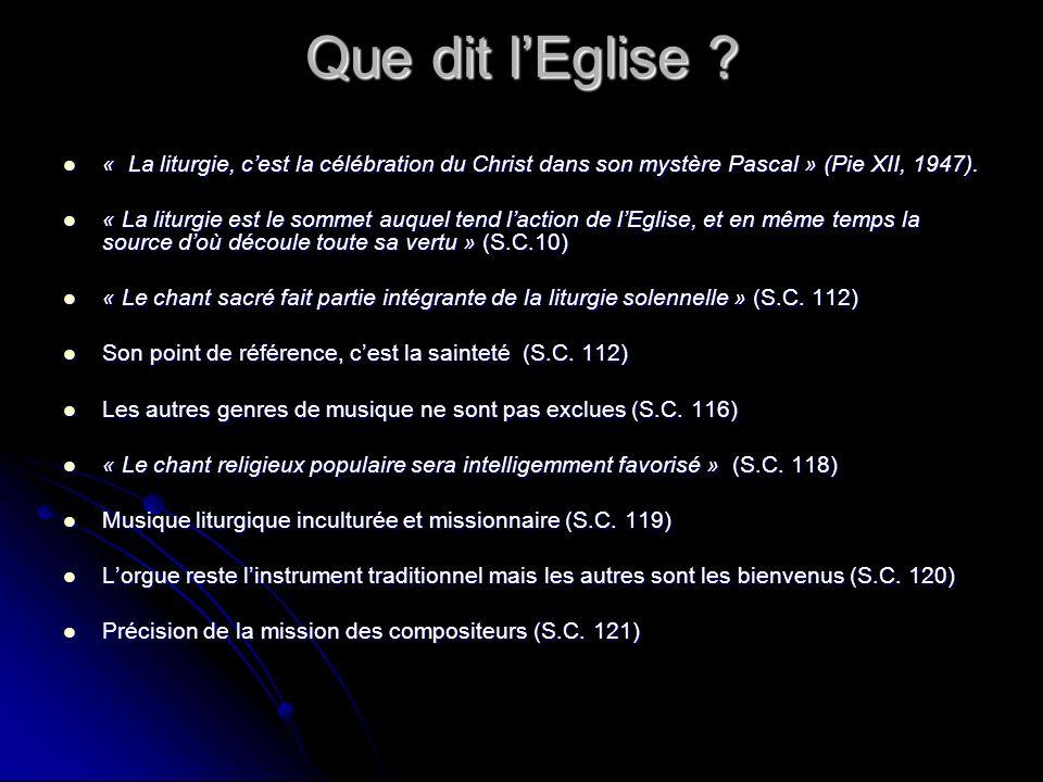Que dit l'Eglise « La liturgie, c'est la célébration du Christ dans son mystère Pascal » (Pie XII, 1947).