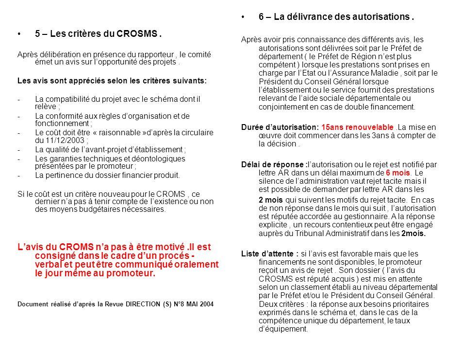6 – La délivrance des autorisations .