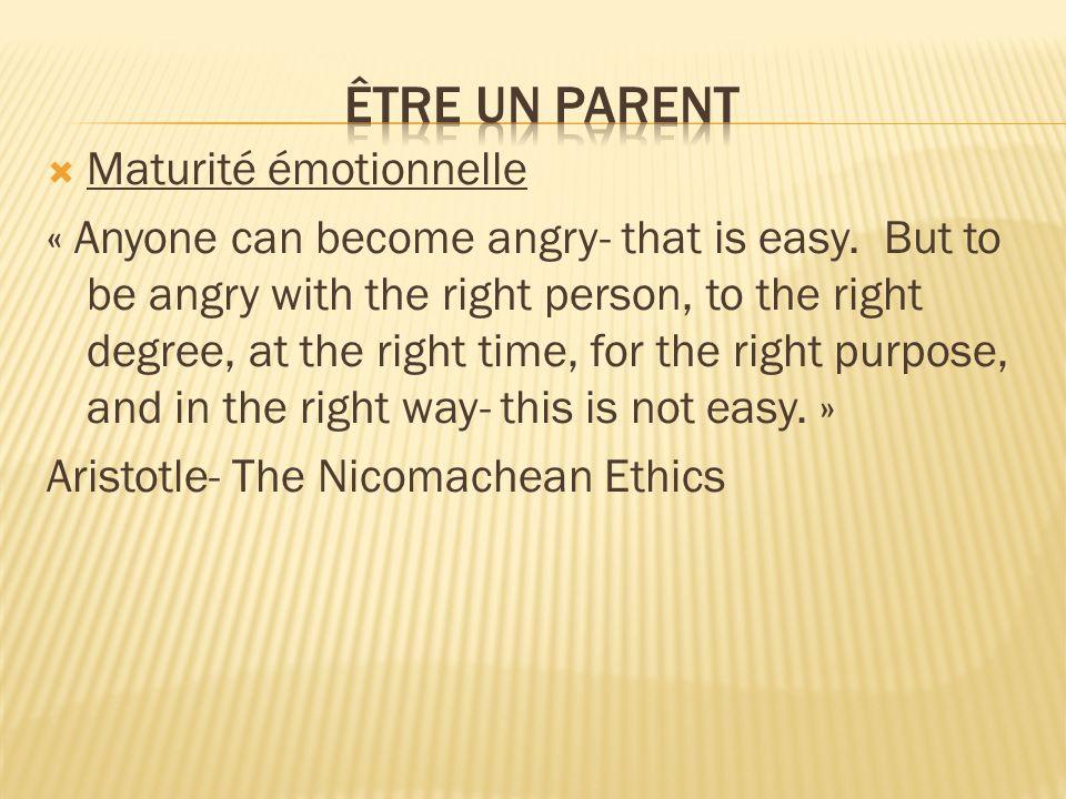 Être un parent Maturité émotionnelle