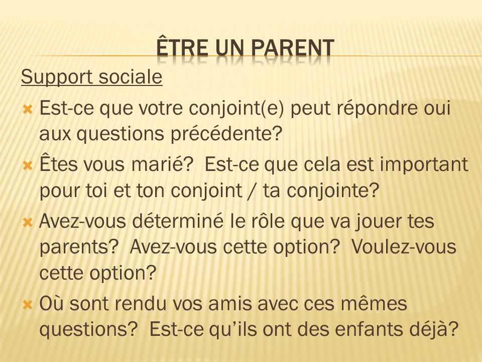 Être un parent Support sociale