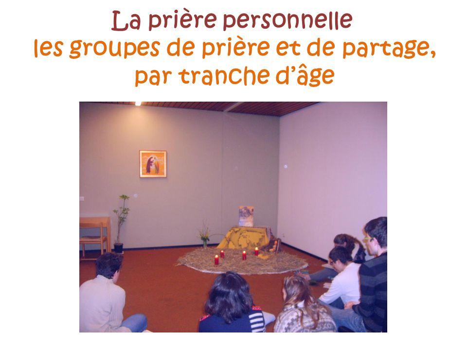 La prière personnelle les groupes de prière et de partage, par tranche d'âge