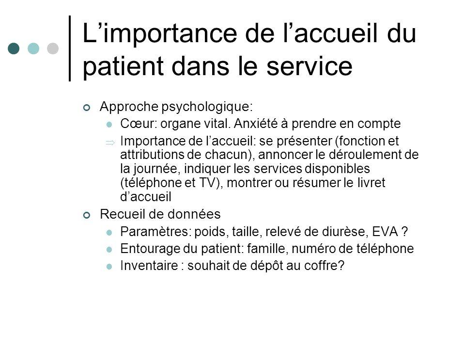 L'importance de l'accueil du patient dans le service