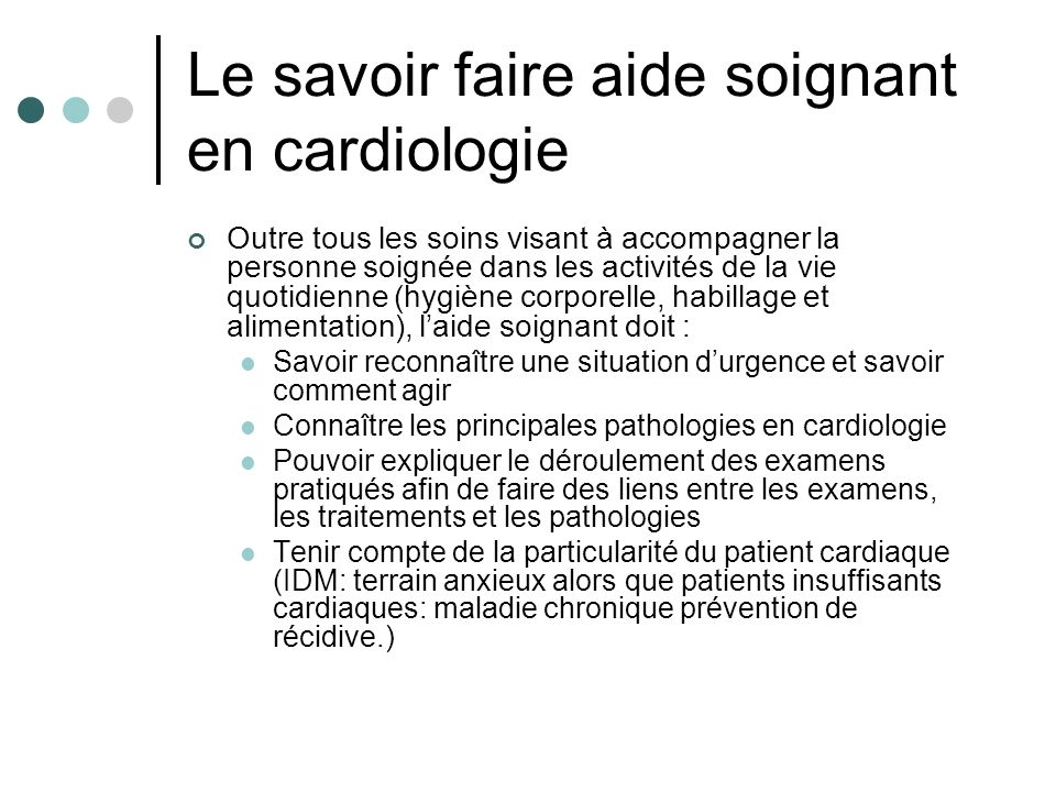 Le savoir faire aide soignant en cardiologie