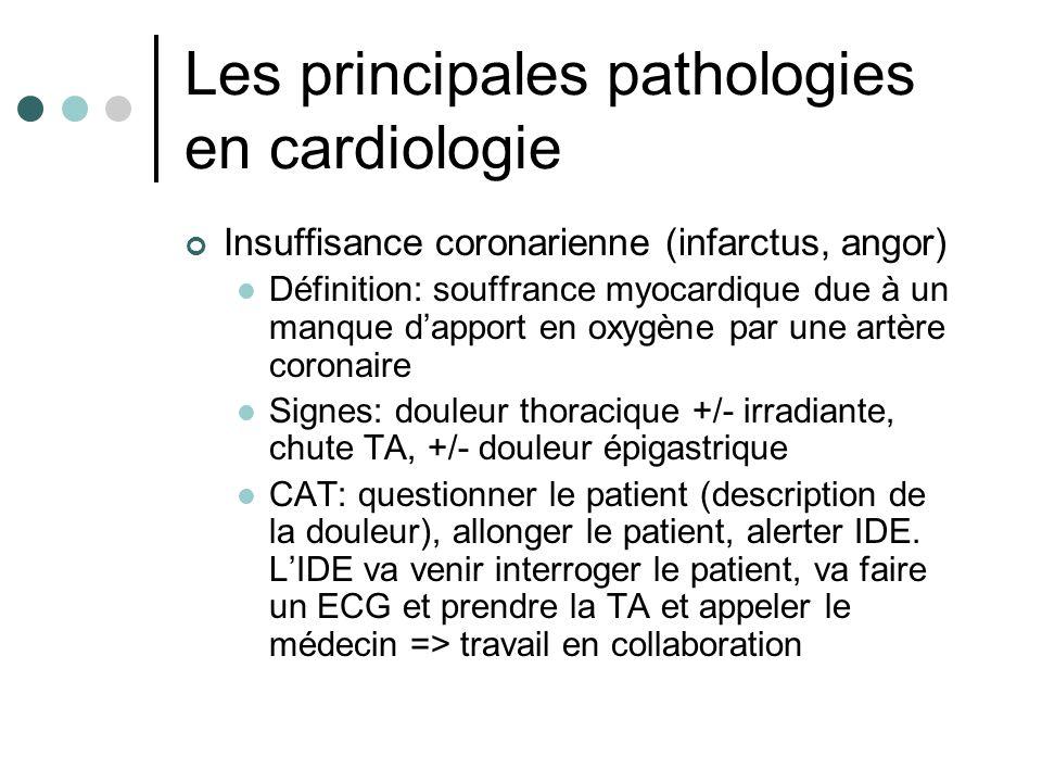 Les principales pathologies en cardiologie