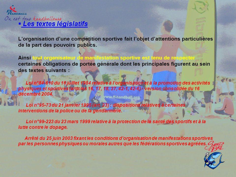 Les textes législatifs L'organisation d'une compétition sportive fait l'objet d'attentions particulières de la part des pouvoirs publics.