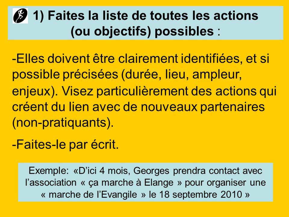 1) Faites la liste de toutes les actions (ou objectifs) possibles :