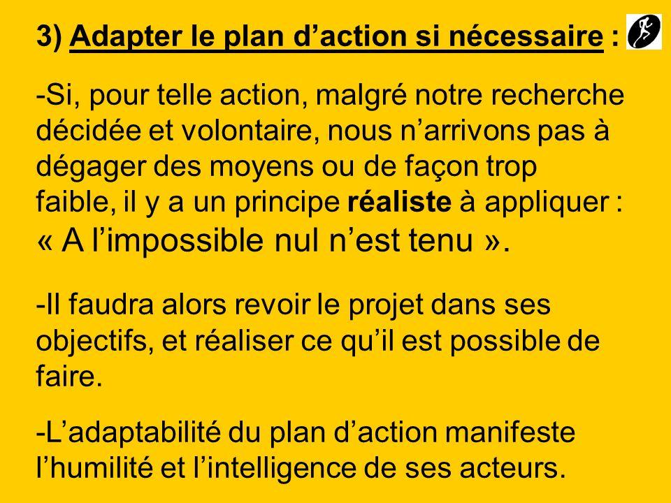 3) Adapter le plan d'action si nécessaire :