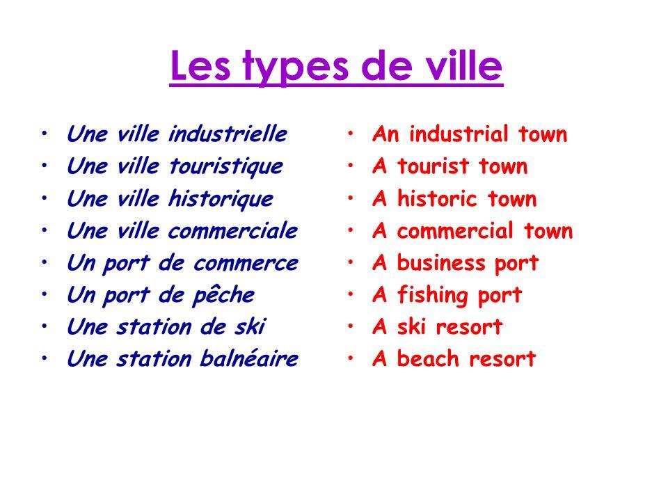 Les types de ville Une ville industrielle Une ville touristique