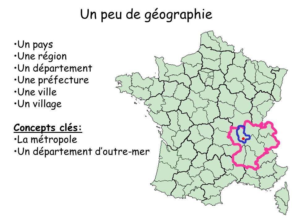 Un peu de géographie Un pays Une région Un département Une préfecture